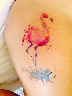 Pink Flamingo Watercolour Tattoo