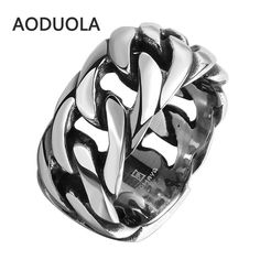 Stainless Steel with Rope Punk Ring Big Size rings Retro Vintage Biker Large Antique Men's Rings For Seal men Rock mens Jewelry