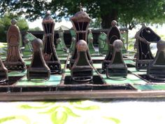 Green and Black Stained Glass Chess Set With Checkers от Zoonomia