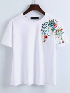 Shop Flower Embroidery T-Shirt online. SheIn offers Flower Embroidery T-Shirt & . - Shop Flower Embroidery T-Shirt online. SheIn offers Flower Embroidery T-Shirt & more to fit your fa - Embroidery On Clothes, Embroidered Clothes, Embroidery Dress, Embroidery Shop, T-shirt Broderie, Cooler Look, Painted Clothes, Flower Shirt, Shirt Shop