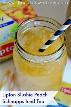 A yummy recipe for Peach Schnapps Iced Tea Slushie! Refreshingly sweet using Lipton Tea! (slushie recipe for adults) Party Drinks, Fun Drinks, Mixed Drinks, Fresco, Tea Riffic, Peach Schnapps, Frozen Drinks, Brewing Tea, Non Alcoholic Drinks