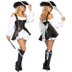 punk Pirate Costume women adult party halloween costumes for women black Faux Leather y Pirates cosplay Costume with hat