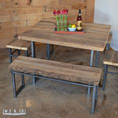 "No two pieces are alike! The Elgin Dining Table is handcrafted from old growth reclaimed wood that was salvaged from an early 19th century barns located in Northern Illinois. Dining Table - 48""  Reclaimed Wood & Metal Legs. Custom table with three finishes - natural, antiqued and clear. Handmade furniture made in the USA by Woodstock and Co on aftcra."