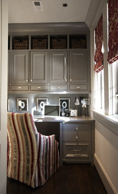 Small office off kitchen -- love all the storage -- efficient use of small space