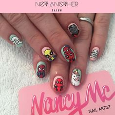 Kawaii Deadpool themed mani for @jezabelle1984 💅 You can now book your nail…