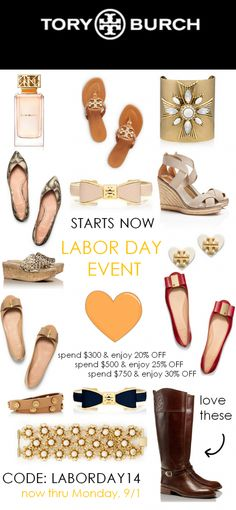 enjoy up to 30% off at the Tory Burch Labor Day Sale when you use the code: LABORDAY14 at checkout. Spend $300 & get 20% off, spend $500 & get 25% off, spend $750 & get 30% off. Ends 9/1. Discount code can be applied to sale or full-priced items. Click through for details! http://rstyle.me/n/dhzqin2bn