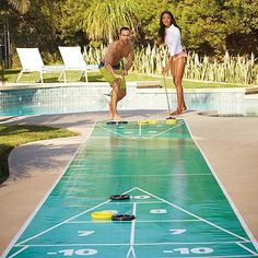 Setting up the Portable Shuffleboard Set is a breeze! You and your guests will love to play this fun and exciting game poolside this summer.