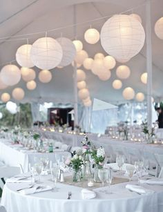 white paper lanterns wedding reception Black and white Rhode Island wedding: Emily + Paul Wedding Tent Decorations, Wedding Lanterns, Wedding Lighting, Wedding Centerpieces, Wedding Paper Lanterns, Chinese Lanterns Wedding, Burlap Centerpieces, Lanterns For Weddings, Paper Lantern Centerpieces