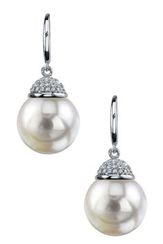 18K White Gold 9mm White South Sea Pearl & Diamond Earrings on HauteLook