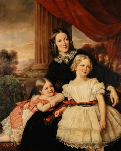 Mother's Day. Group Portrait of a Mother and Two Daughters, attributed to Carl Schmidt, c.1870.