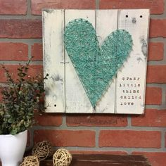 STRING ART, Farmhouse Decor, love you more sign, farmhouse chic, wood wall art, rustic gallery wall, string heart, wooden heart