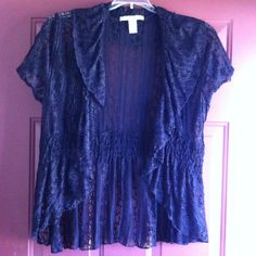 Closet Clearance Black lace shrug!!! This lace shrug drapes beautifully over anything. It's design is timeless and has endless possibilities. I've never worn it and it's too cute to hang in my closet anymore. You will love it!! Tops