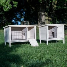 Boomer & George Elevated Outdoor Rabbit Hutch - White Wash - Rabbit Cages & Hutches at Hayneedle Rabbit Cages Outdoor, Rabbit Hutch Indoor, Rabbit Hutch Plans, Rabbit Hutches, Double Rabbit Hutch, Bunny Hutch, Bunny Cages, Airstream Interior, Pet Furniture