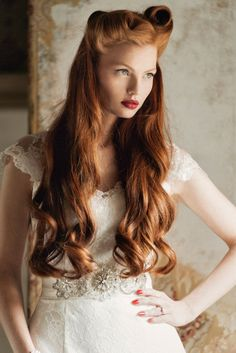 Charlotte Balbier's Decade of Style & 2015 Iscoyd Park Collection | weddingsonline Beautiful Redhead, Gorgeous Hair, Amazing Hair, Pretty Hair, Vintage Hairstyles, Wedding Hairstyles, Men's Hairstyles, Romantic Bridal Updos, Hair Colorful