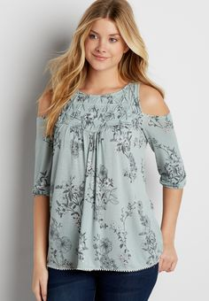 cold shoulder top with diamond pleated yoke in floral print (original price, $32.00) available at #Maurices