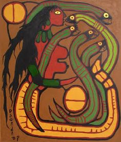 Norval_Morrisseau_MOTHER_OF_ALL_SERPENTS (Woodland cree) Native Canadian, Canadian Artists, Woodlands School, Cool Artwork, Amazing Artwork, Year Of The Snake, Woodland Art, Sacred Feminine, Indigenous Art
