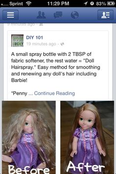 How to tame doll hair