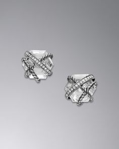 Cable Wrap Earrings, Crystal, 10mm by David Yurman at Neiman Marcus.