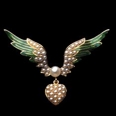 A VICTORIAN PEARL AND ENAMEL HEART AND WING BROOCH - Bentley & Skinner