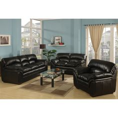 Living Room Decorating IdeasBlack Leather CouchInteriodesign