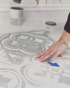 Painted & Stenciled Floors | Gray and White Faux Ceramic Tiles | Budget Friendly Bathroom Ideas | Santa Ana Tile Stencil | Cutting Edge Stencils | Project by Blush Arrow Homes #stencils #diy #diyproject #decorate #homedecor#homedecorideas #homestyle