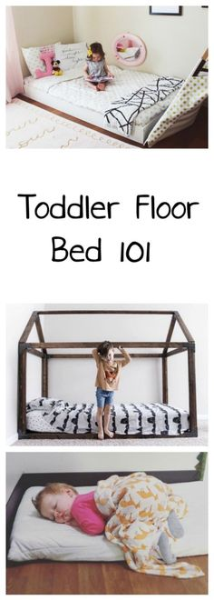 Toddler Floor Beds 101 - Oh Happy Play / Montessori Style Bedroom With DIY Floor Bed - Floor bed, Montessori Room, DIY Floor Bed, Toddler Bed, Baby Floor Bed, Montessori Bed, Bed on the floor, Toddler room, nursery with floor bed, girl room