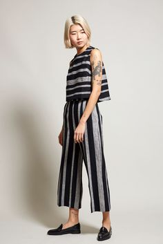 No.6 Dietrich Cropped Pant in Stripe Linen