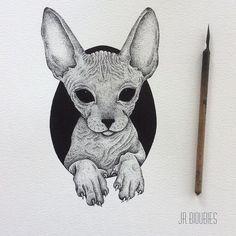 Tattoo cat pontilhismo Ideas for 2019 Kunst Tattoos, Neue Tattoos, Body Art Tattoos, Sphinx Tattoo, Desenho Tattoo, Cat Drawing, Baby Cats, Animal Drawings, Cat Art