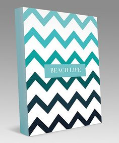 Take a look at this Aqua & White Zigzag Personalized Canvas Art by Bamboo Prints on #zulily today!
