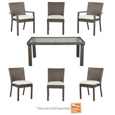 Hampton Bay Beverly 7 Piece Patio Dining Set With Cushion Insert  (Slipcovers Sold Separately)