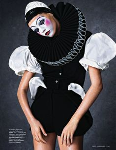 "The Terrier and Lobster: ""Joyful Pierrette"": Mina Cvetkovic as a Commedia dell'Arte Clown by Christian Anwander for Vogue Netherlands April 2013"
