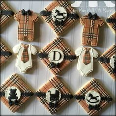 burberry baby shower cookies (I love the plaid. Never thought to do that for a cookie. I'd love to do a plaid design on stocking shaped sugar cookies for Christmas this year. Fancy Cookies, Iced Cookies, Cute Cookies, Cookies Et Biscuits, Sugar Cookies, Gourmet Cookies, Baby Boy Cookies, Baby Shower Cookies, Sugar Cookie Frosting