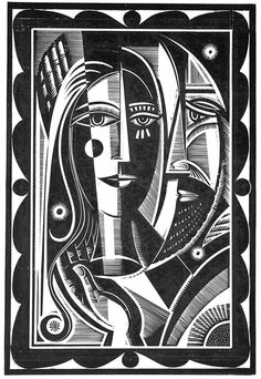 Stephen Alcorn ~ The Artist of the Missing (image 8) ~ Relief-block print, 19.5 x 13 inch ~ For the novel by author Paul LaFarge, Alcorn created 11 illustrations in his trade mark chiaroscuro, intricate patterning and inversion of conventional perspective.