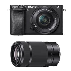 "Sony Alpha a6300 Mirrorless Digital Camera with 16-50mm f/3.5-5.6 Lens and E 55-210mm f/4.5-6.3 OSS E-Mount Lens (Black). Sony Authorized Dealer - Includes USA Manufacturer's Warranty. 24.2MP APS-C Exmor CMOS Sensor BIONZ X Image Processor. XGA Tru-Finder 2.36m-Dot OLED EVF. 3.0"" 921.6k-Dot Tilting LCD Monitor. Includes - Sony Alpha a6300 Mirrorless Digital Camera w/ 16-50mm f/3.5-5.6 Lens / Sony E 55-210mm f/4.5-6.3 OSS E-Mount Lens (Black)."
