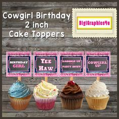 Printable Cowgirl Birthday Themed 2 inch Square Cupcake Toppers Jewelry Keychains and more!