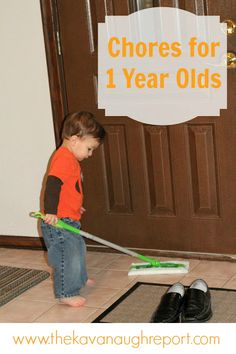 My 1-year-old Does Chores - Montessori friendly tips and ideas for 1-year-olds to help around the house. Early practical life!