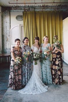 8a48a58ec5c1 These mismatched floral print bridesmaid dresses are everything. | Weddings  | Wedding Ceremony | Wedding