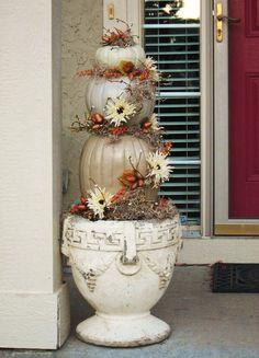 Metallic pumpkins for the front door.