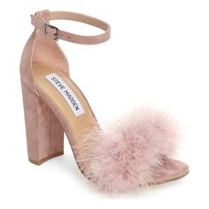 Soft feathers and a block heel update the look of an ankle-strap sandal that's nothing but glam.
