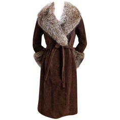 1970's LOEWE brown suede coat with fox trim ❤ liked on Polyvore featuring outerwear, coats, fur, women, brown coat, suede leather coat, brown suede coat, loewe and suede coat