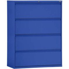 Sandusky Lee 800 Series 30 inch 4-Drawer Full Pull Lateral File, Blue