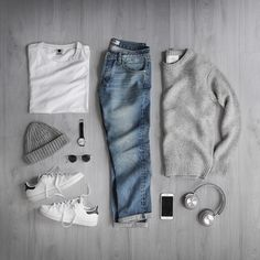 Sweater: Lambswool Knit Jumper T-Shirt: Watch: Denim: Shoes: Stan Smith Hat: Headphones: Sunglasses: Stylish Mens Outfits, Casual Outfits, Men Casual, Stylish Man, Stylish Clothes, Stan Smith Outfit, Style Masculin, Herren Outfit, Outfit Grid