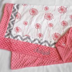 Coral dandelions, grey blanket with grey chevron trim and coral minky dot baby blanket Quilting Projects, Sewing Projects, Sewing Ideas, Sewing Basics, Basic Sewing, White Dandelion, Boppy Cover, Soft Baby Blankets, Grey Chevron