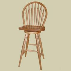 Heritage Colonial Arrow Spindle Bow Back Windsor Swivel Counter Stool