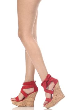 654eb1fcf18 Red Faux Suede Bow Detail Cork Wedges   Cicihot Wedges Shoes Store Wedge  Shoes