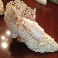Altered shoe with beautiful doily.