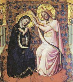 """Coronation of the Virgin"" (detail) Circa 1340 -- Vitale da Bologna -- Italian -- Oil on wood -- The Louvre Italian Renaissance, Renaissance Art, Lady Madonna, Queen Of Heaven, Russian Icons, John The Baptist, Blessed Virgin Mary, Mother Mary, Bologna"