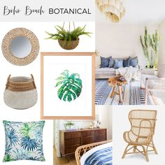 Soft blues and pops of green with plenty of rattan. Milk Art, Botanical Decor, Interior Design Inspiration, Boho Decor, Rattan, Blues, Interior Decorating, Gallery Wall, Mood Boards