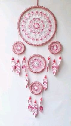 Large pink dream catcher wall hanging, kids room and nursery boho decor, teen room wall decor - This hand crochet dream catcher is modern boho decor for your bedroom, kids or nursery room. Dream Catcher Bedroom, Big Dream Catchers, Dream Catcher Decor, Doily Dream Catchers, Dream Catcher Hoops, Dream Catcher Pink, Dream Catcher For Kids, Dream Bedroom, Dreamcatcher Crochet