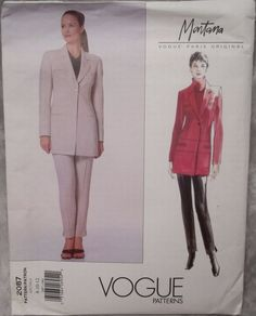 Vogue VPO 2087 Claude Montana Pant Suit Long Jacket 1998 Sz8-10-12 Semi-fitted, lined, below the hip jacket with collar, yokes, insets, seam detail, welt pockets and long, 2pc sleeves with button vent.Tapered ankle length pants with waistband, side zipper & stitched creases. uncut FF  sld 6.99+fr 7/7/17